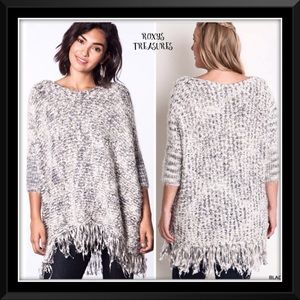 Umgee Chunky Knit Marled Black & White Sweater